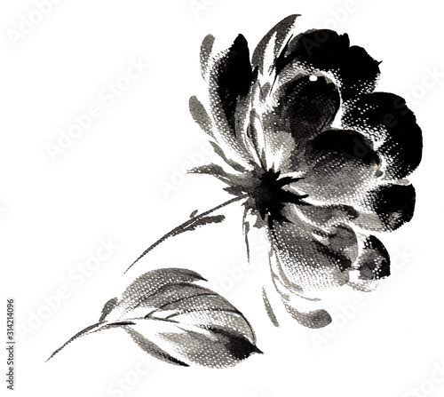 peony-painted-with-a-brushstroke-effect-black-white