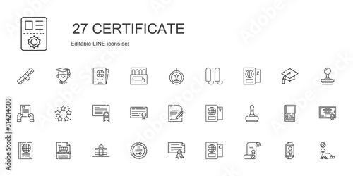 Fotografía certificate icons set