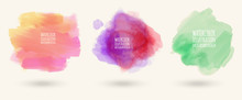 Vector Watercolor Stains On Isolated White Background Set