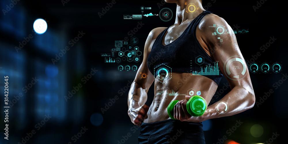 Fototapeta Technologies for sports. Mixed media