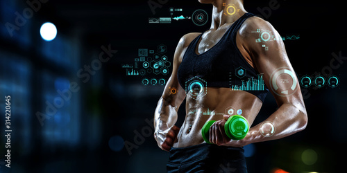 Obraz Technologies for sports. Mixed media - fototapety do salonu