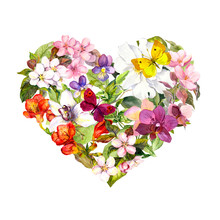 Floral Heart With Meadow Flowe...