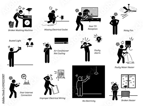 Photo Electrical home appliances problems at house stick figure pictogram icons