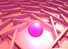 Abstract Backgroung With Shiny Plasma Ball Into The Pink Architectural Structure. 3D Illustration