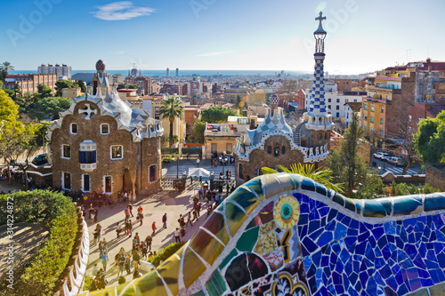 Photo Guell park, Barcelona, Catalania, Spain. Protected by UNESCO