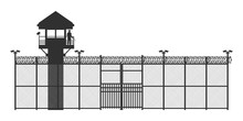 Prison Fence On White Background. Black Silhouette Of Jail Exterior With Steel Grid. Isolated Gate. Symbol Of Freedom. Industrial Scene