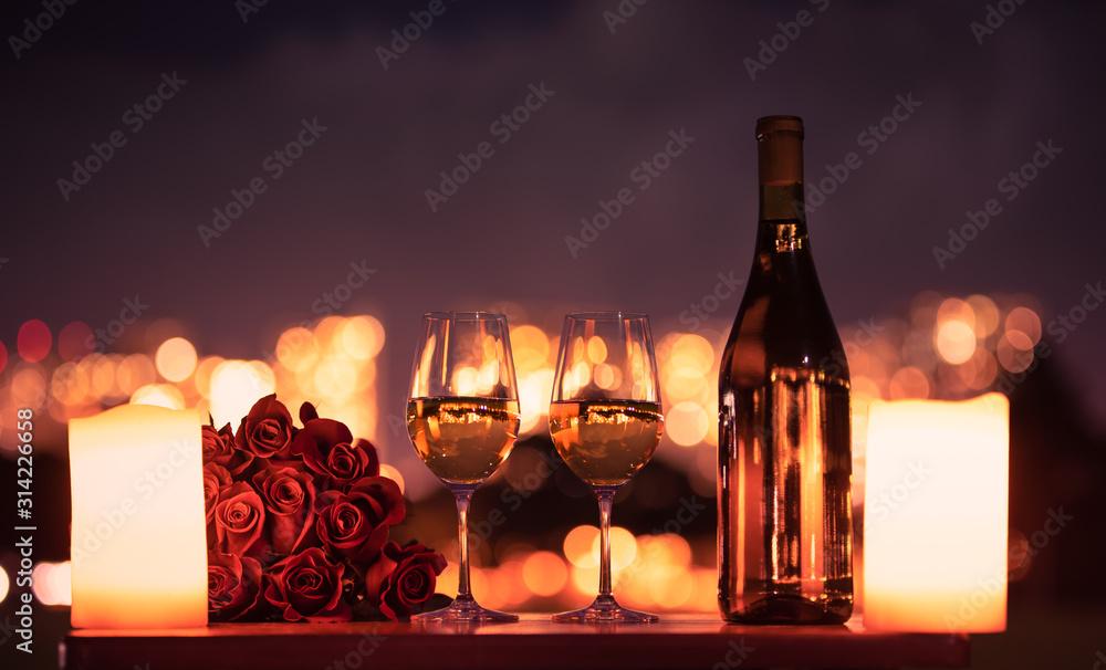 Fototapeta Romantic candle light dinner.