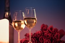 Pair Of Wine Glasses And Bouqu...