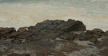 Big Foamy Ocean Waves Crashing Against Some Rocks, Causing An Ocean Spray