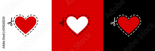 Heart vector icon, love symbol with scissors dotted line. Vector scissors - cut icon isolated. Valentine love red background. Scissors cutting vector. Love concept.