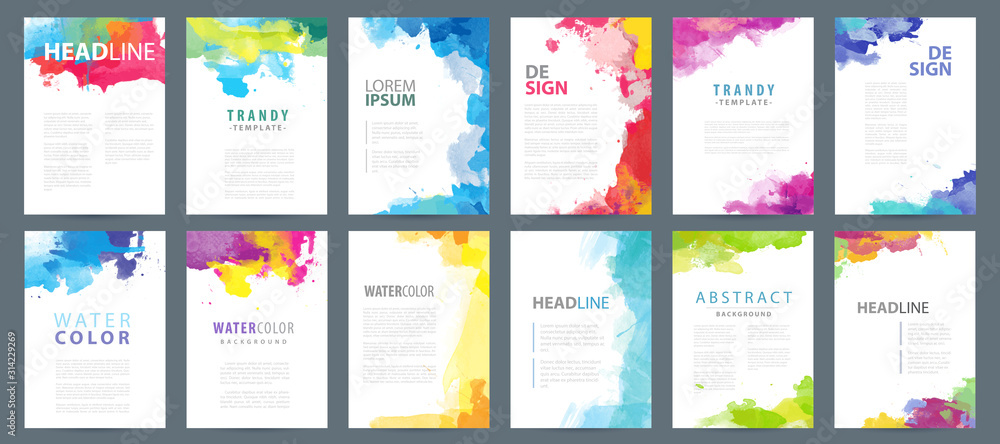 Fototapeta Big set of A4 bright vector colorful watercolor background templates for poster, brochure or flyer