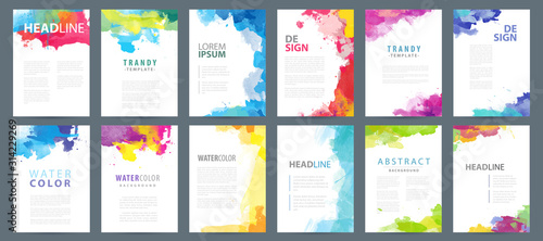 Obraz Big set of A4 bright vector colorful watercolor background templates for poster, brochure or flyer - fototapety do salonu