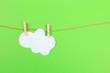 Leinwanddruck Bild - Felted Cloud hanging on Clothesline