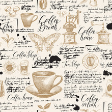 Vector Seamless Pattern On Tea And Coffee Theme With Sketches, Blots And Unreadable Inscriptions In Retro Style. Suitable For Wallpaper, Wrapping Paper, Background, Fabric Or Textile