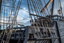 Rigging Of An Old Pirate Ship In The Port Of Torrevieja, Alicante, Spain 2019