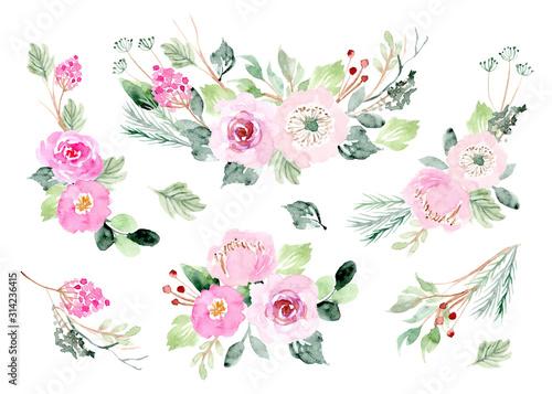pink floral arrangement watercolor collection Canvas Print