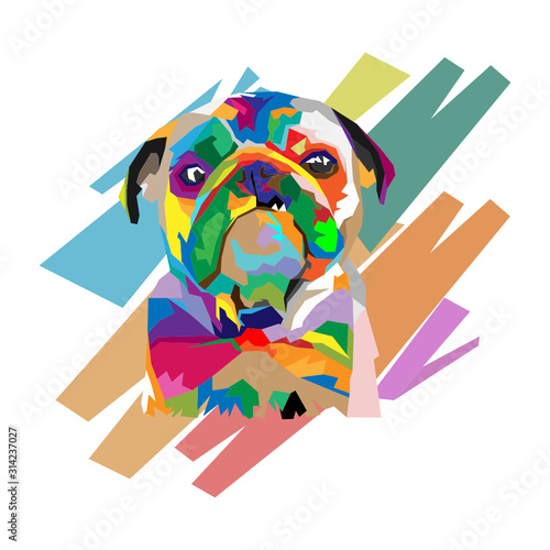 Photo Abstract Geometric Colorful Dog illustration Design, Low Poly, Pop Art Dog - Wpa