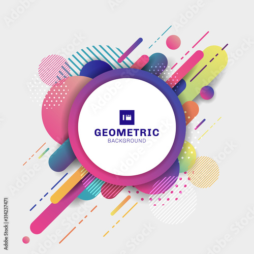 Fotografía Abstract colorful geometric pattern composition rounded line shapes diagonal tra