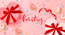 Holiday Card For Valentine's Day. Background With Realistic Gift Boxes, Heart Shaped Cookies, Sweets, Marshmallows And Confetti. Modern Design For Postcards, Banners, Posters And Promotional Materials
