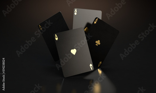 Fotografía Black Casino Card Aces