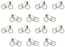 Vector Pattern With Flowers And Bicycle