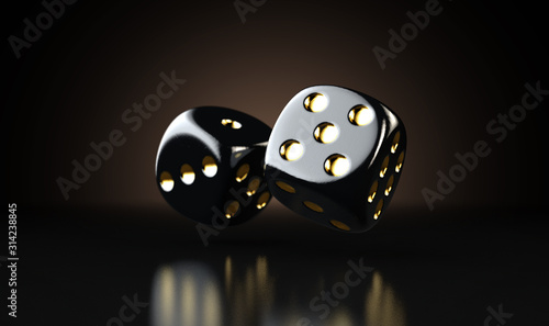 Black Casino Dice Fototapeta