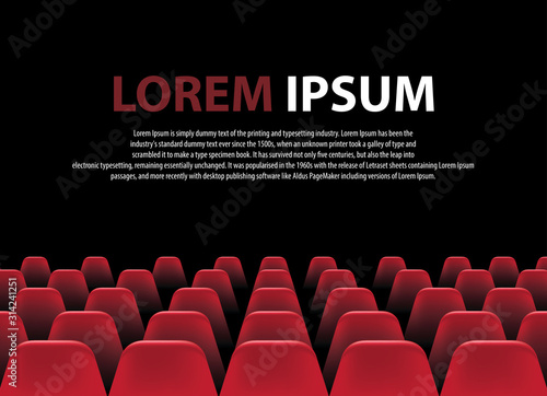Movie cinema premiere poster design with white screen and rows of red chairs in the darkness.