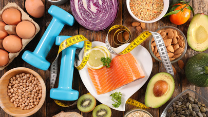health food assortment-healthy lifestyle with salmon, egg, fruit and vegetable