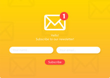 Subscribe To Our Newsletter Form. Sign Up Form With Envelope, Email Sign. Vector Illustration.