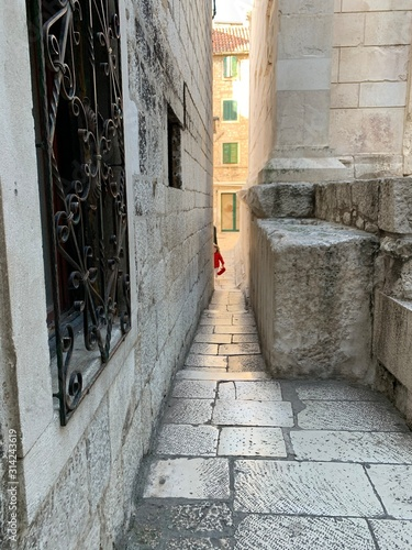 narrow street in old town Canvas Print