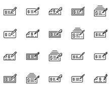 Bank Check Line Icon Set