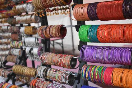 Colorful bangles at market for sell Wallpaper Mural