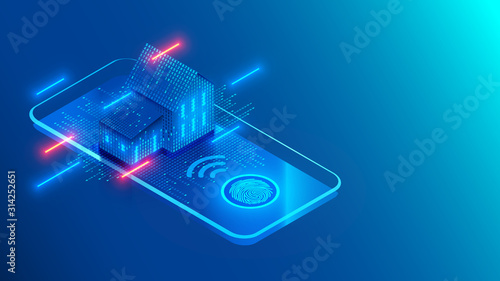 Smart home technology on screen smartphone on blue background Canvas Print