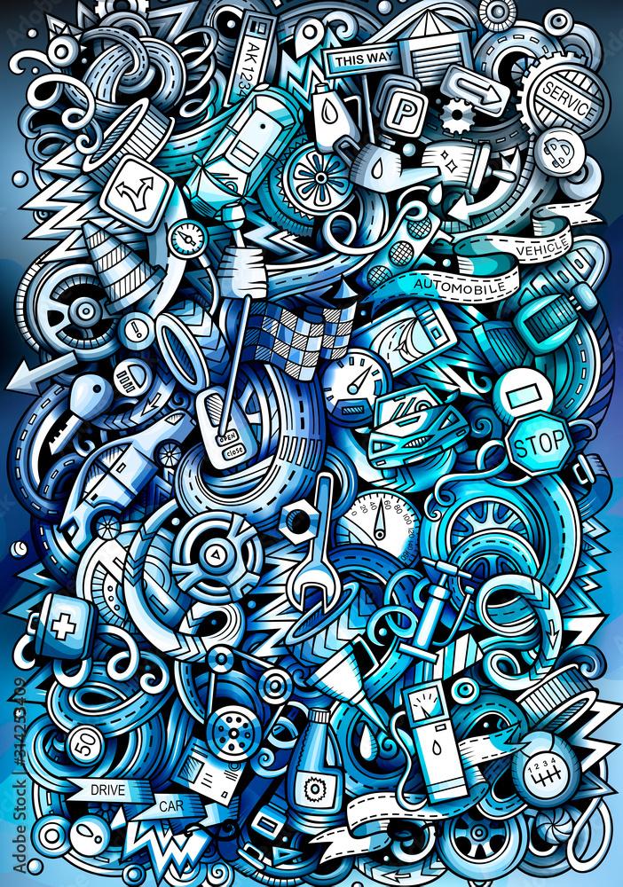Auto hand drawn doodle banner. Cartoon detailed flyer. <span>plik: #314253409 | autor: balabolka</span>