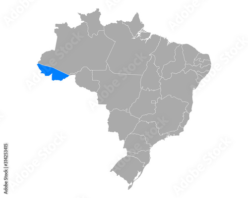 Karte von Acre in Brasilien Wallpaper Mural