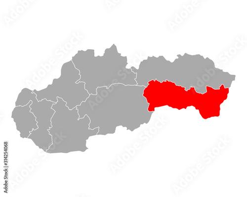 Fototapeta Karte von Kosicky kraj in Slowakei obraz