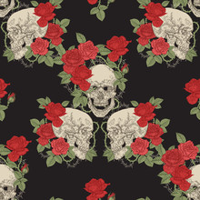 Skulls And Roses Seamless Patt...