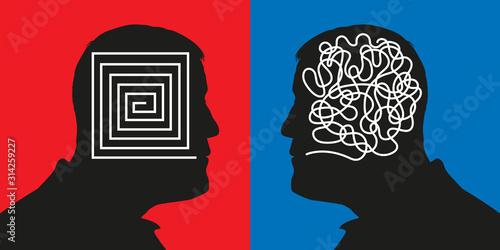 Fotomural Concept montrant deux profils qui symbolisent des méthodes de raisonnement opposées avec un cerveau rationnel face à un esprit confus