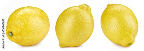 Lemon collection isolated on white background. Lemon fruit Clipping Path.
