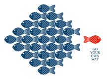 Being Different Or Special Vector Concept Shown With Funny Cartoon Fishes And One Is Another Color And Swimming Another Direction, Alternative Opposition, Variety.