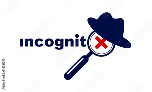 Fotografía  Incognito vector concept magnifying glass with hat like a spy, criminal hiding his person, against law illegal man, unidentified person