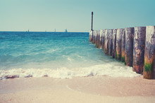 Sea Pier Made Of Wooden Poles ...
