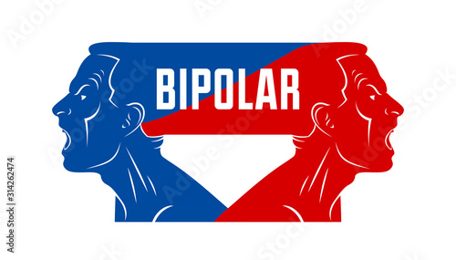 Ambivalence inner conflict and bipolar disorder mental health vector conceptual illustration or logo visualized by two face profiles screaming and shouting in anger Canvas Print