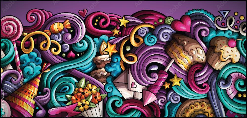 Fototapeta Holidays hand drawn doodle banner. Cartoon detailed flyer.
