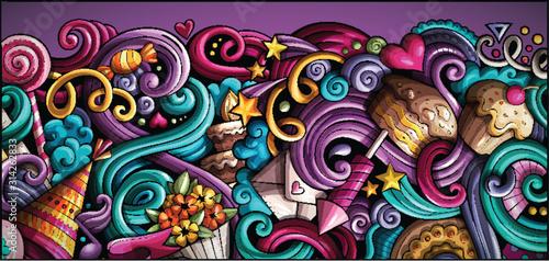 Fototapeta Holidays hand drawn doodle banner. Cartoon detailed flyer. obraz