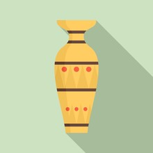 Egyptian Vase Icon. Flat Illustration Of Egyptian Vase Vector Icon For Web Design