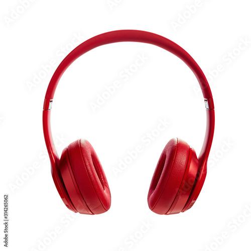 Fotografia Red wireless headphone on white background