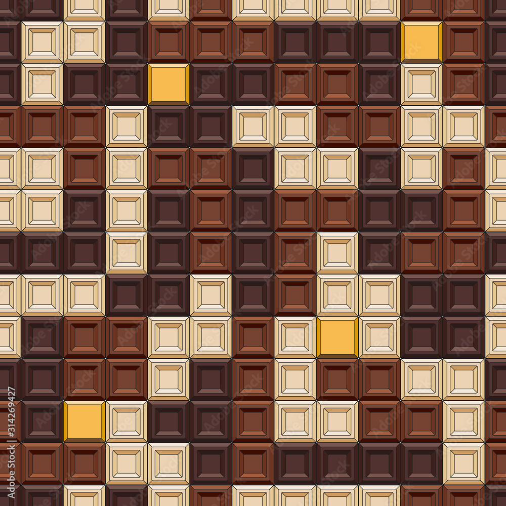 Seamless pattern with tetris made of chocolate cubes, sweets. Colored vector background.