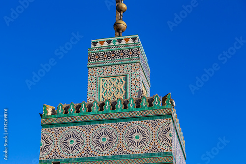 Fotografia Al-Karaouine university minaret in the Medina of Fes el Bali