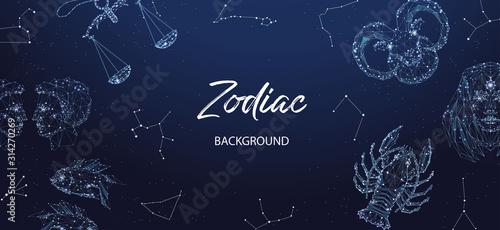 Obraz Zodiac background. Astrological horoscope. Horizontal banner with polygonal zodiac signs. - fototapety do salonu